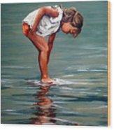 Girl At Shore  Wood Print