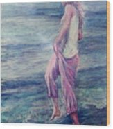 Girl At The Beach Wood Print