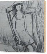 Girl At The Garden Wood Print