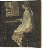 Girl At The Piano Wood Print
