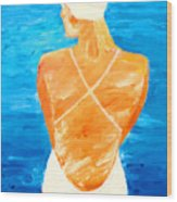 Girl At The Pool Wood Print