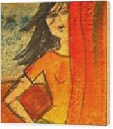 Girl Behind The Curtain Wood Print