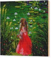 Girl By Lily Pond Wood Print