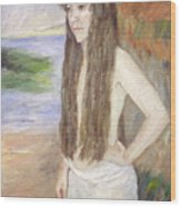 Girl By The Shore Wood Print