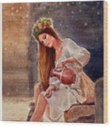 Girl By Water Spring Wood Print