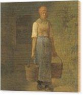 Girl Carrying Water Wood Print
