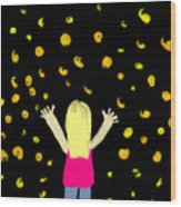Girl Dancing With Fireflies Wood Print