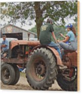 Girl Driving A Tractor Wood Print