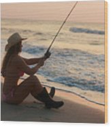 Girl Fishing Wood Print