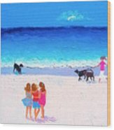 Girl Friends - Beach Painting Wood Print