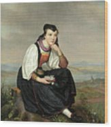 Girl From Hessen In Traditional Dress Wood Print