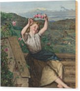 Girl Holding Up A Wreath Of Roses Wood Print