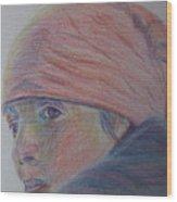 Girl In A Bandana Wood Print