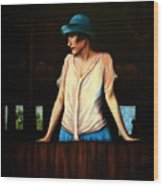 Girl In A Barn Wood Print