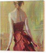 Girl In A Copper Dress I Wood Print