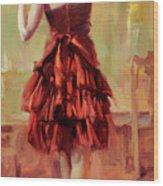 Girl In A Copper Dress IIi Wood Print