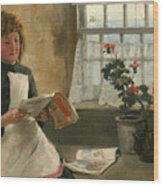 Girl In A Cottage Window Wood Print