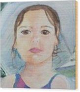 Girl In A Hat Portrait Wood Print