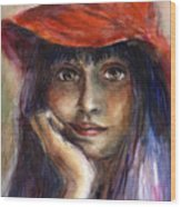 Girl In A Red Hat Portrait Wood Print