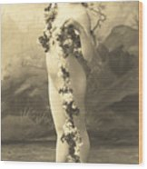 Girl In Body Stocking Holding Garland Of Flowers Wood Print