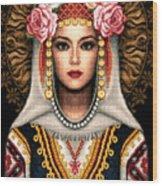 Girl In Bulgarian National Costume Wood Print