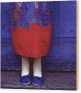 Girl In Colorful Flower Dress Wood Print