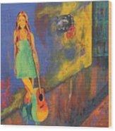 Girl In Green Dress Wood Print