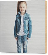 Girl In Jeans Clothes On White Background. Wood Print