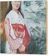 Girl In Kimono Wood Print
