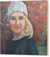 Girl In Late Fall Wood Print