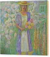 Girl In Monet's Garden At Giverny Wood Print