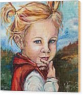 Girl In Red Jumper Wood Print