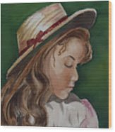 Girl In Ribboned Straw Hat Wood Print
