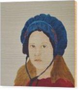 Girl In The Blue Bonnet Wood Print