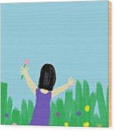 Girl In The Field Of Flowers Wood Print