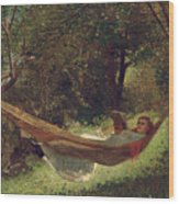 Girl In The Hammock Wood Print by Winslow Homer