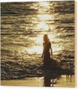Girl In The Light Wood Print