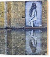 Girl In The Mural Wood Print