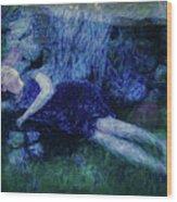 Girl In The Pool 12 Wood Print