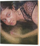 Girl In The Pool 13 Wood Print