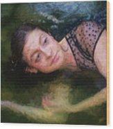 Girl In The Pool 15 Wood Print