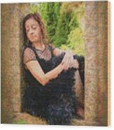 Girl In The Pool 21 Wood Print