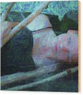 Girl In The Pool 23 Wood Print