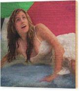 Girl In The Pool 3 Wood Print
