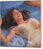 Girl In The Pool 5 Wood Print