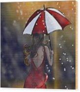 Girl In The Rain  Wood Print