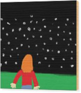 Girl In The Starry Night Wood Print
