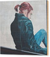 Girl In The Window-sfai Wood Print