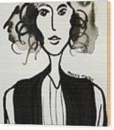 Girl In Vest Wood Print