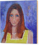 Girl In Yellow Dress Wood Print